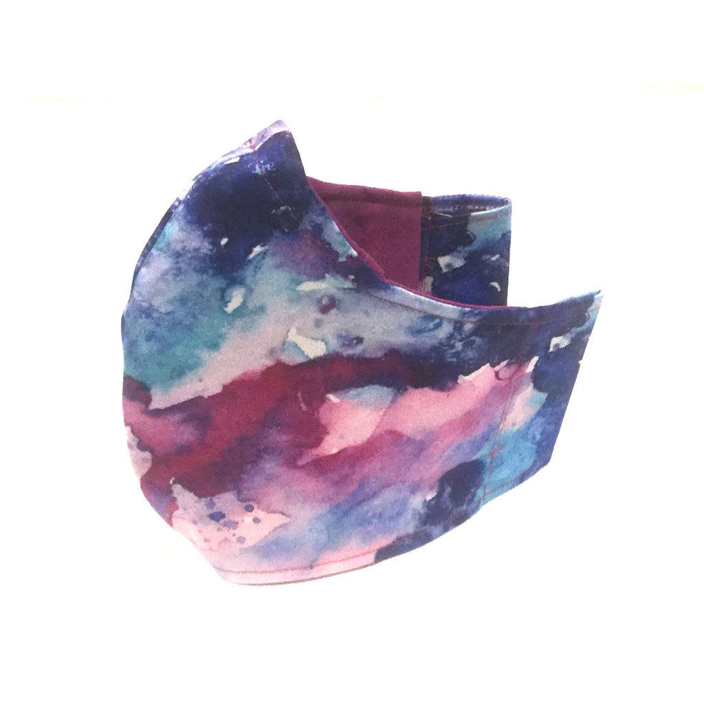 Medium Adult Fabric Face Mask - Pink and Blue Watercolour