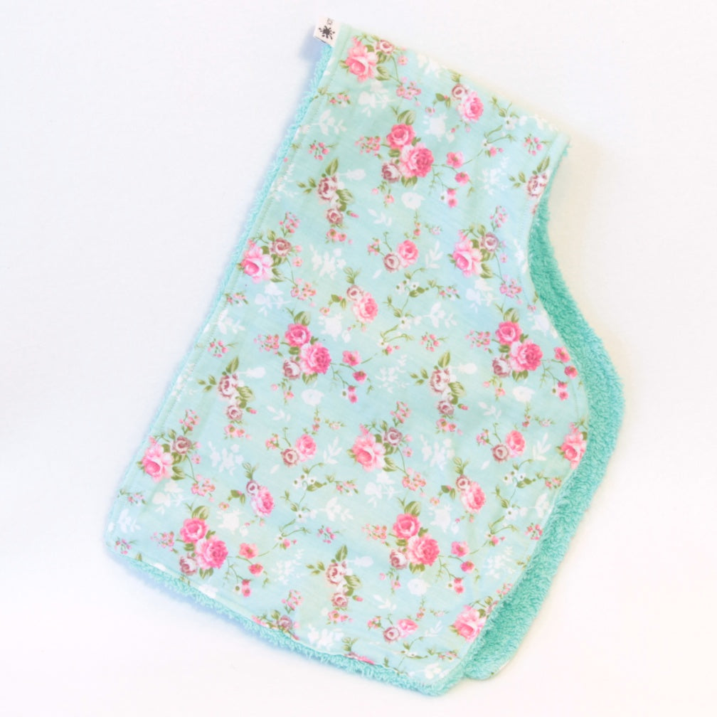 Mucky Duck Crafts Mint green with pink roses contoured burp cloth