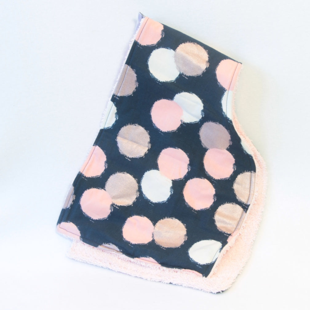 Mucky Duck Crafts Navy with cream blush and rose gold dots contoured burp cloth