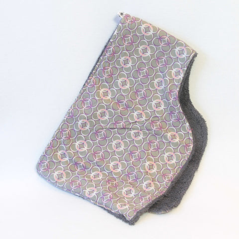 Mucky Duck Crafts grey with pink purple and white circles contoured burp cloth