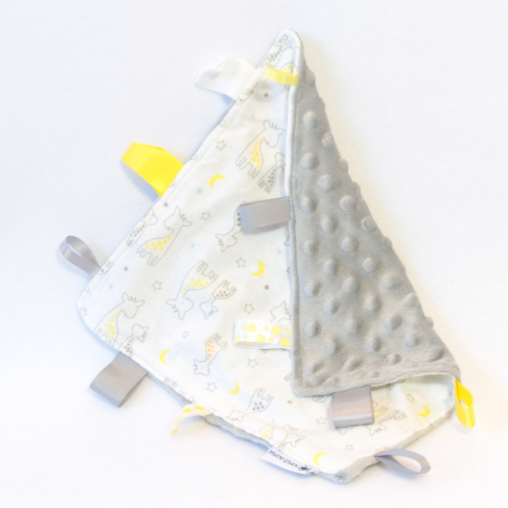 Mucky Duck Crafts white grey and yellow giraffes sensory cloth