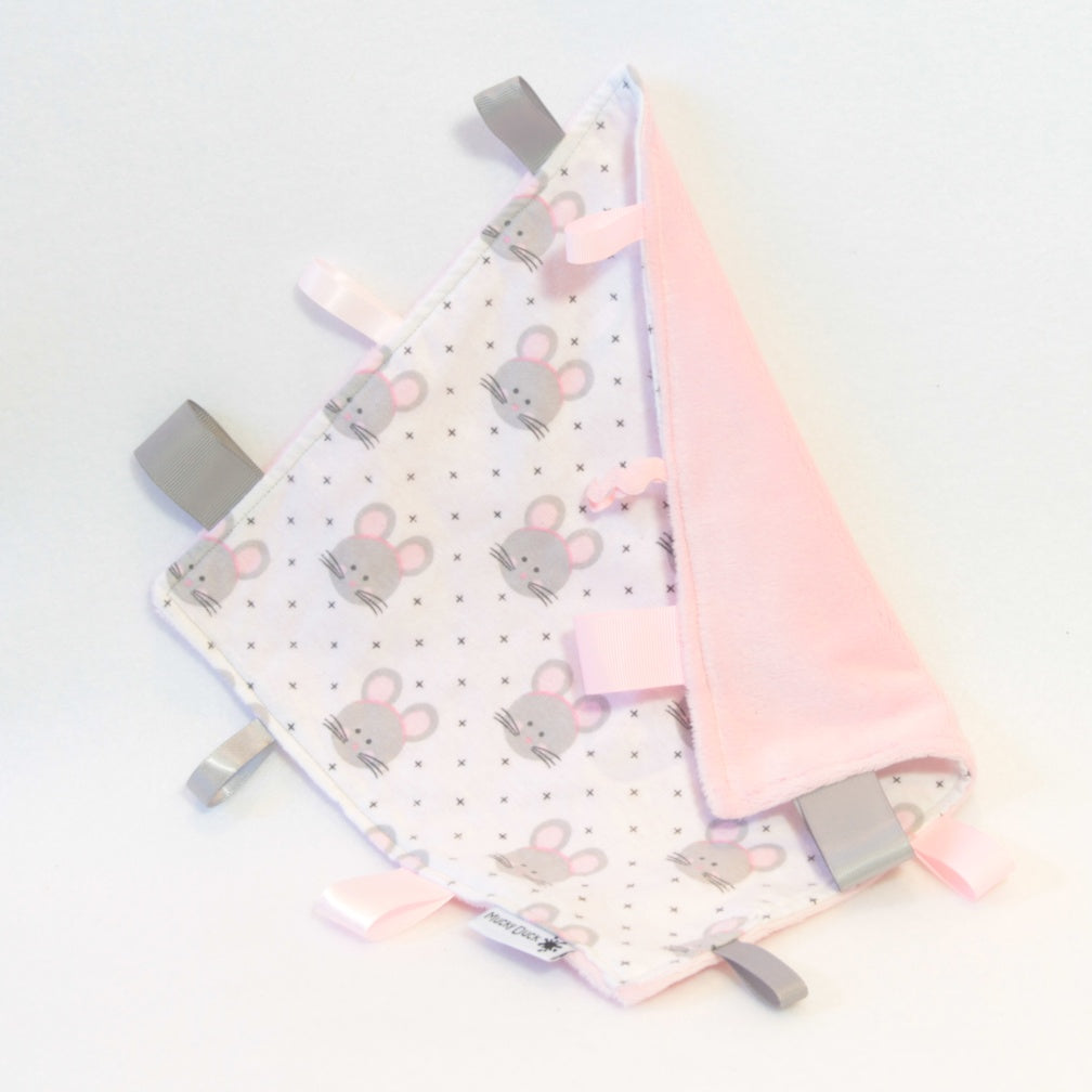 Mucky Duck Crafts white with grey and pink mouse pattern sensory cloth taggy