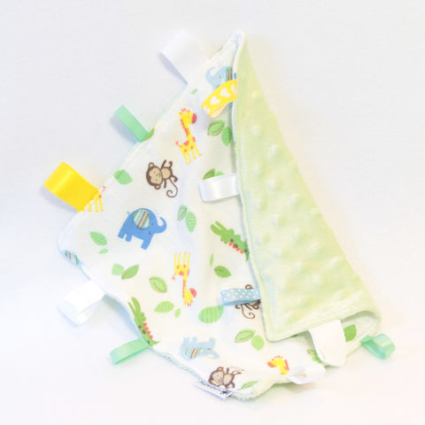 Mucky Duck Crafts white and green with monkey giraffe elephant and crocodile print sensory cloth taggy