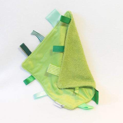 Mucky Duck green towel and minky sensory cloth taggy