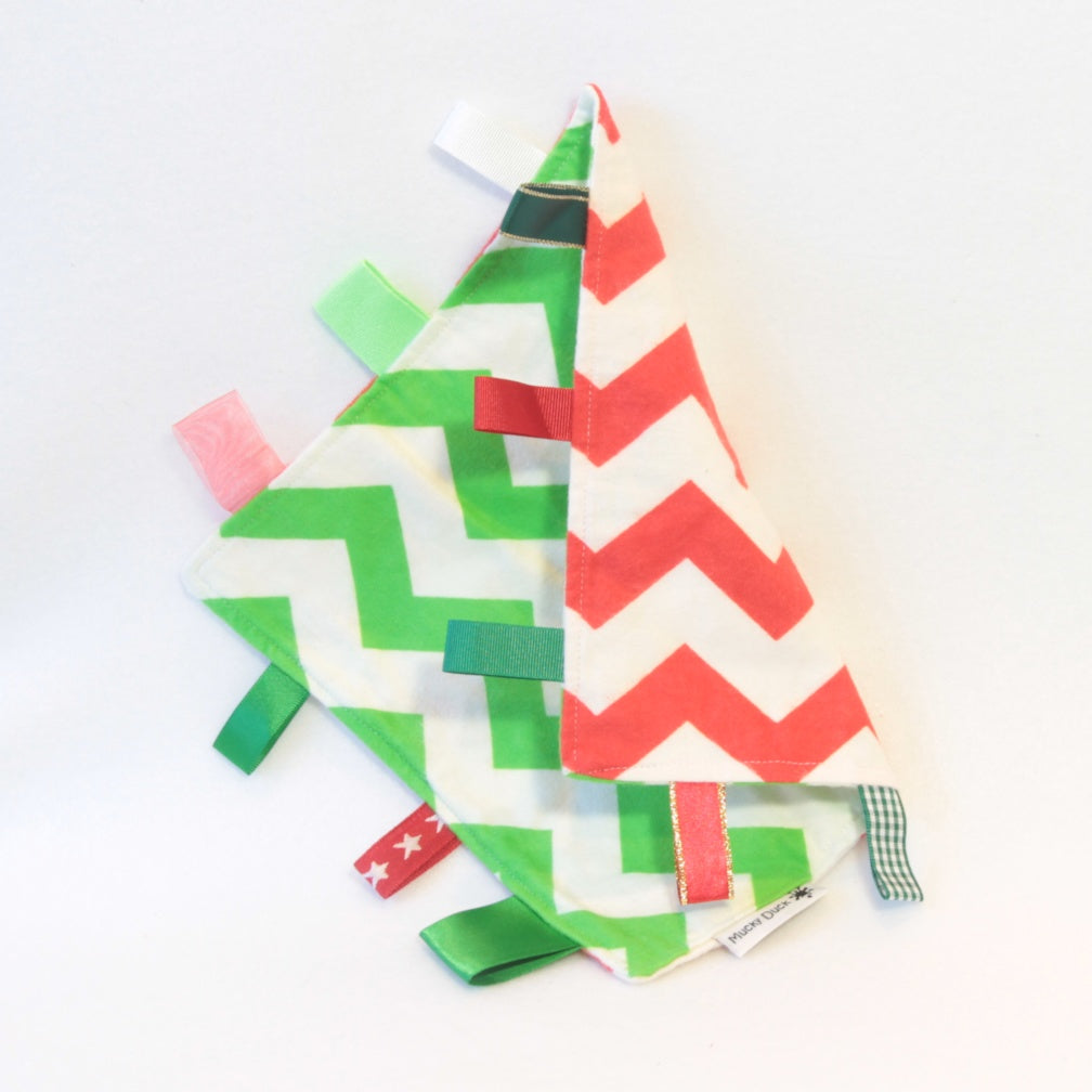 Mucky Duck red green and white chevrons sensory cloth taggy