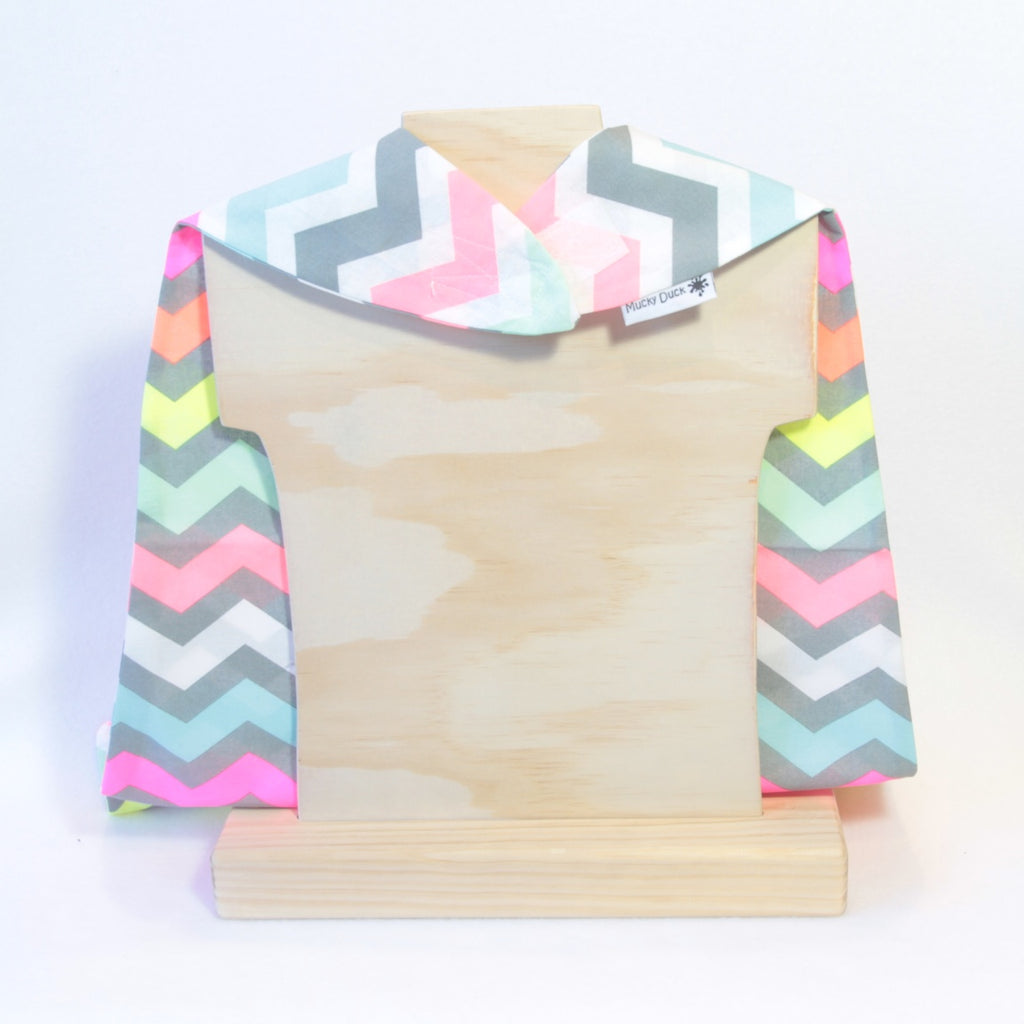 Mucky Duck kids dress up grey white fluro chevrons