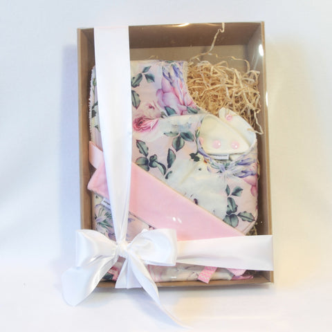 Mucky duck crafts gift pack regular dribble bib burp cloth and sensory cloth taggy in pink with roses and agapanthus