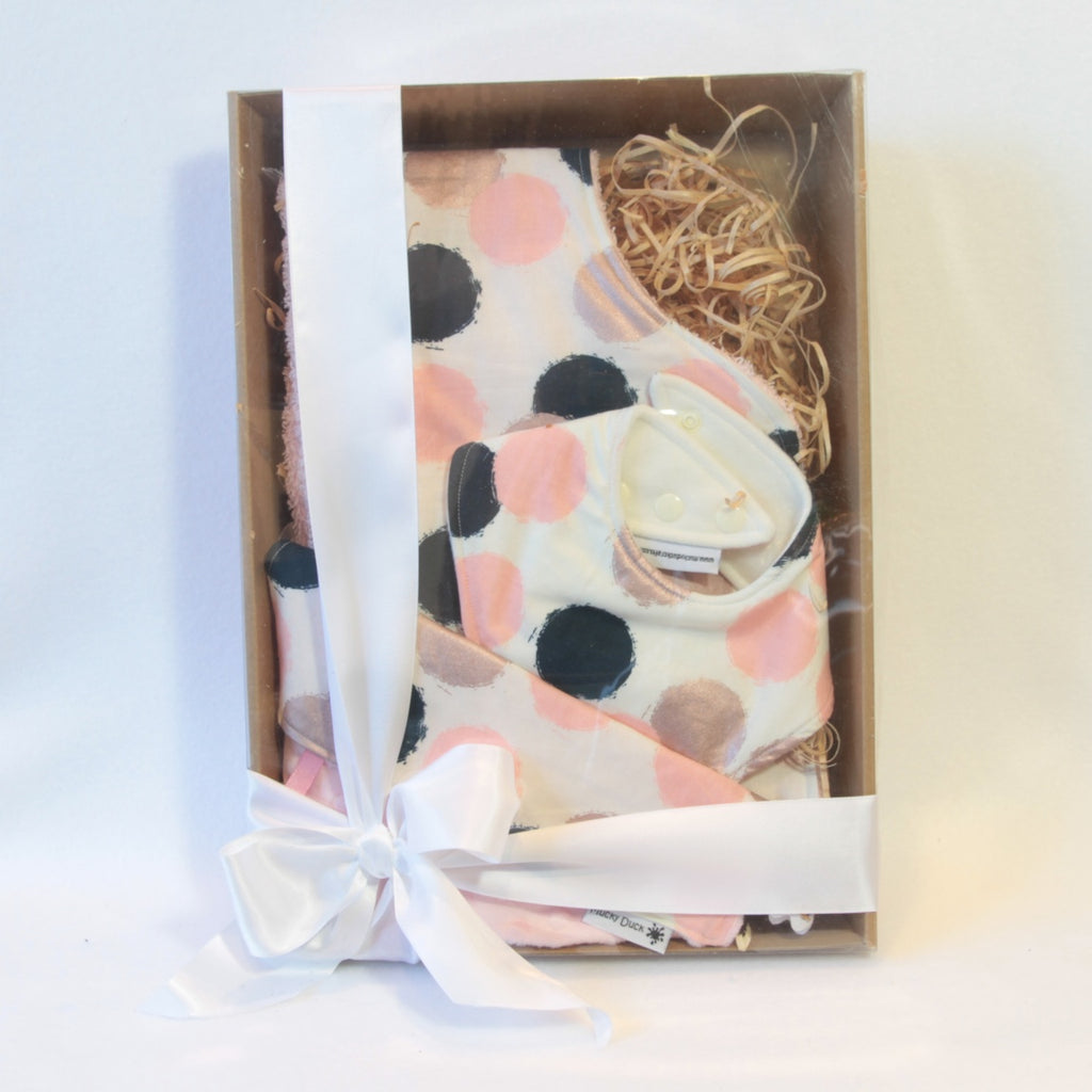 Mucky Duck Crafts cream with pink navy and rose gold dots gift pack containing regular dribble bib burp cloth and sensory cloth taggy