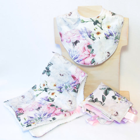 Mucky Duck Crafts white with roses and agapathus floral gift pack containing regular dribble bib burp cloth and sensory cloth taggy