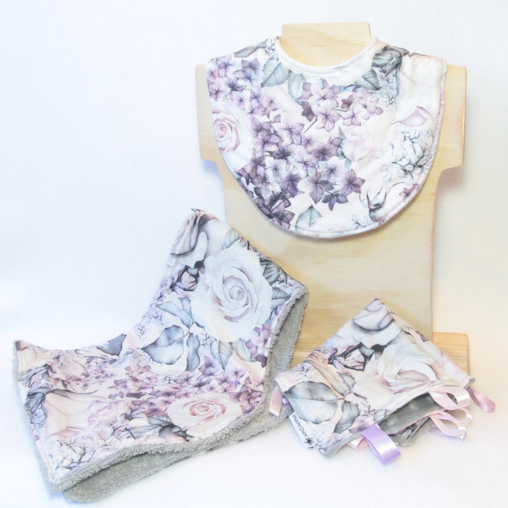 Mucky Duck Crafts pink purple and grey floral roses and hydrangeas gift pack containing regular dribble bib burp cloth and sensory cloth taggy