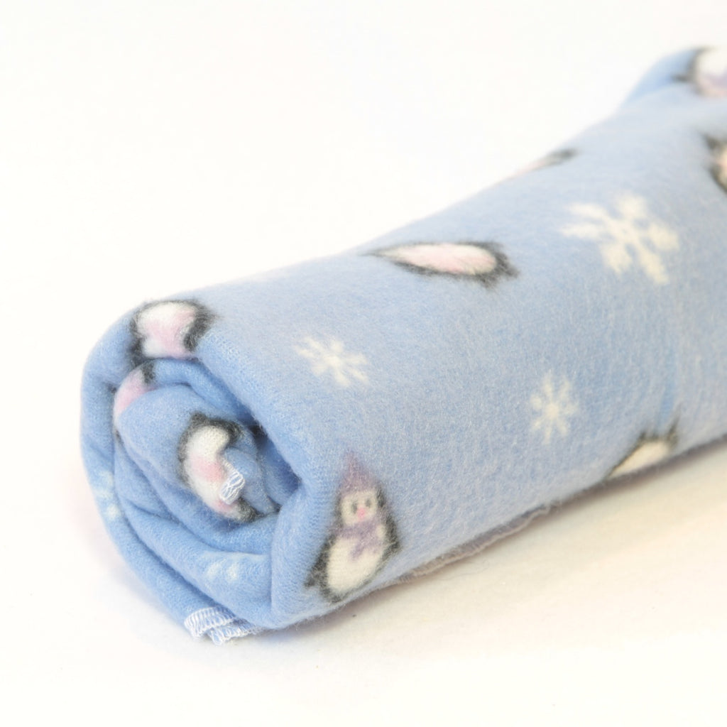 Mucky Duck lilac blue penguins fleece pram blanket