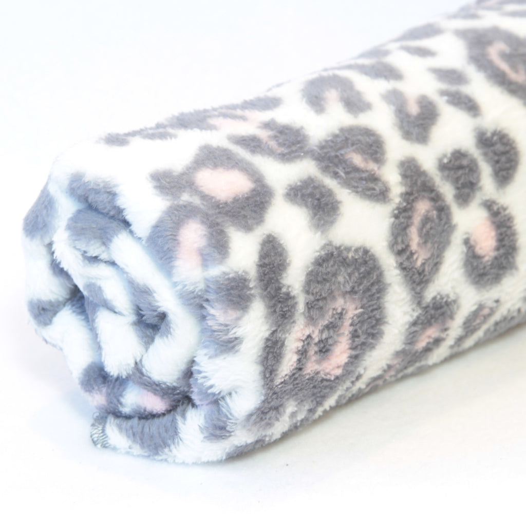 Mucky Duck white pink and grey leopard spot fleece pram blanket