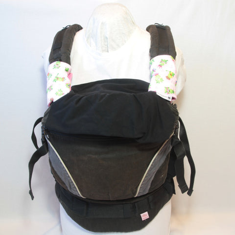 Mucky Duck pink with green frogs baby carrier strap protectors