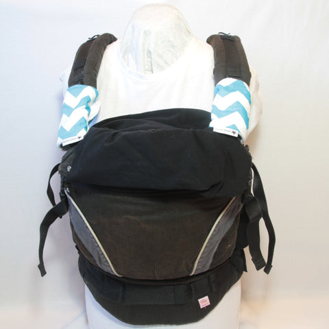 Baby carrier strap protectors white aqua chevrons