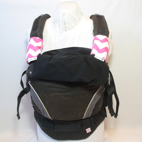 Mucky Duck pink and white chevrons baby carrier strap protectors