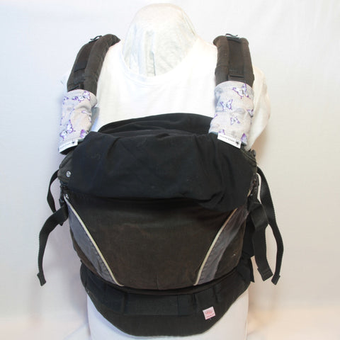 Mucky Duck grey with purple butterflies baby carrier strap protectors
