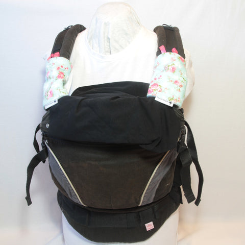 Mucky Duck mint with pink roses baby carrier strap protectors