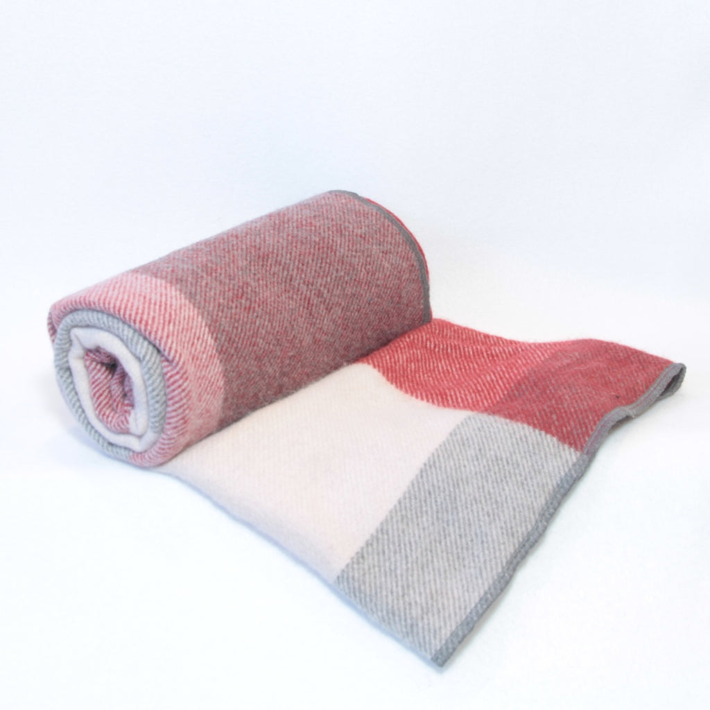 Mucky Duck red and grey checked alpaca wool pram blanket