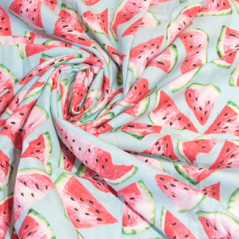 Mucky Duck Crafts blue with pink and green watermelons flannelette wrap