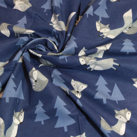 Mucky Duck navy with grey foxes flannelette swaddle wrap