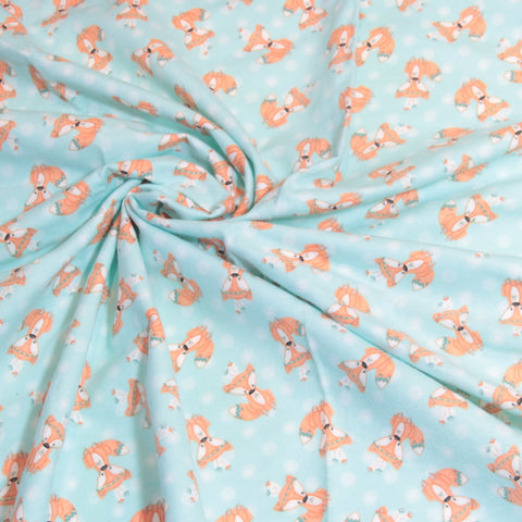 Mucky Duck Crafts Mint with foxes flannelette wrap