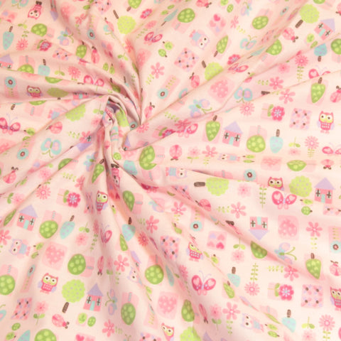 Mucky Duck Crafts pink with pink and purple owls and butterflies flannelette wrap