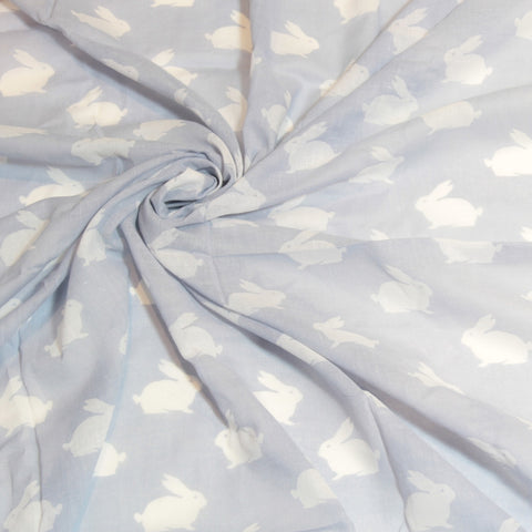 Mucky duck crafts blue with white bunny silhouette muslin swaddle wrap