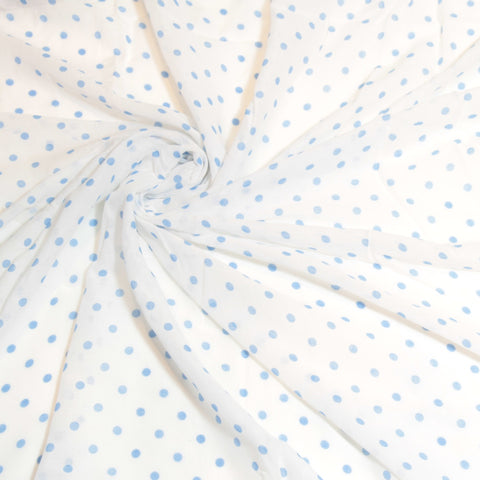 Mucky Duck Crafts white with blue polka dot muslin swaddle wrap