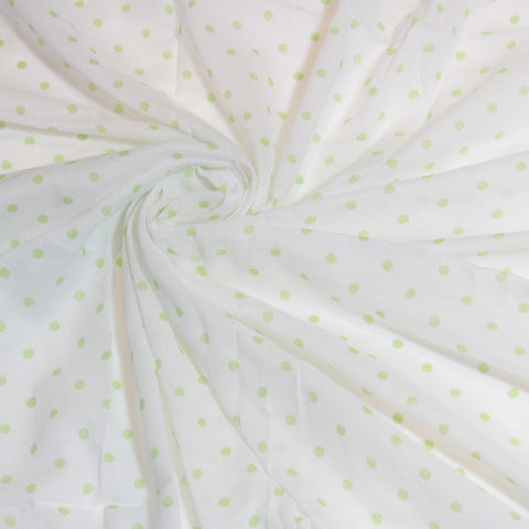 Mucky Duck white with green polka dots muslin swaddle wrap