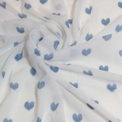 Mucky Duck Crafts white with blue hearts muslin swaddle wrap