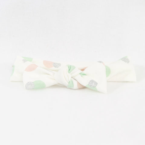 White with Blush Mint and Silver Dots - Jersey Headband