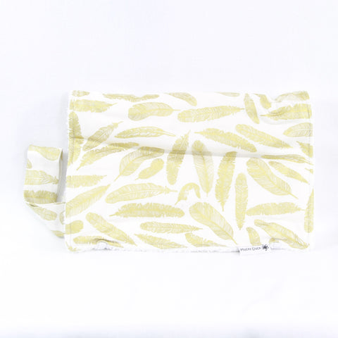 Mucky Duck Crafts white with gold feathers nappy wallet and change mat set