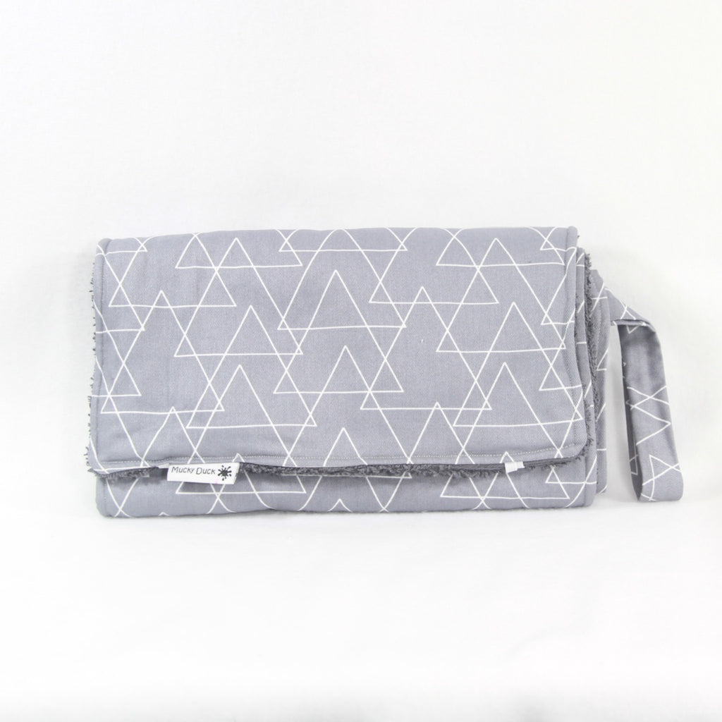 Grey Triangles Geometric Pattern Nappy Wallet and Change Mat Set