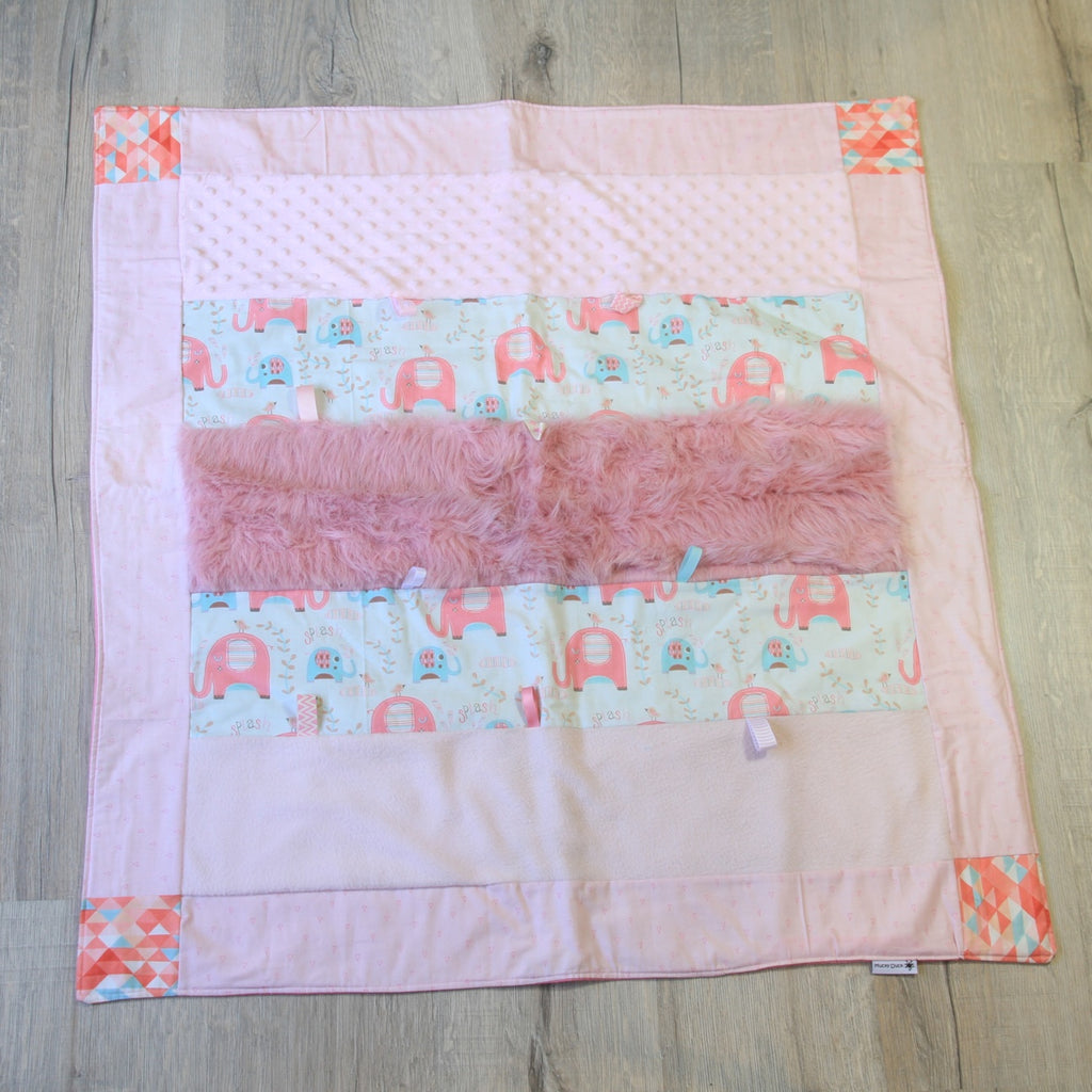 Mucky Duck Crafts small sensory playmat in pink and mint elephants theme