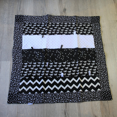 Mucky Duck Crafts small sensory playmat in monochrome foxes theme