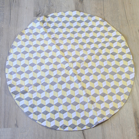 Mucky Duck Grey Yellow and White Woven Fabric Circular Play Mat