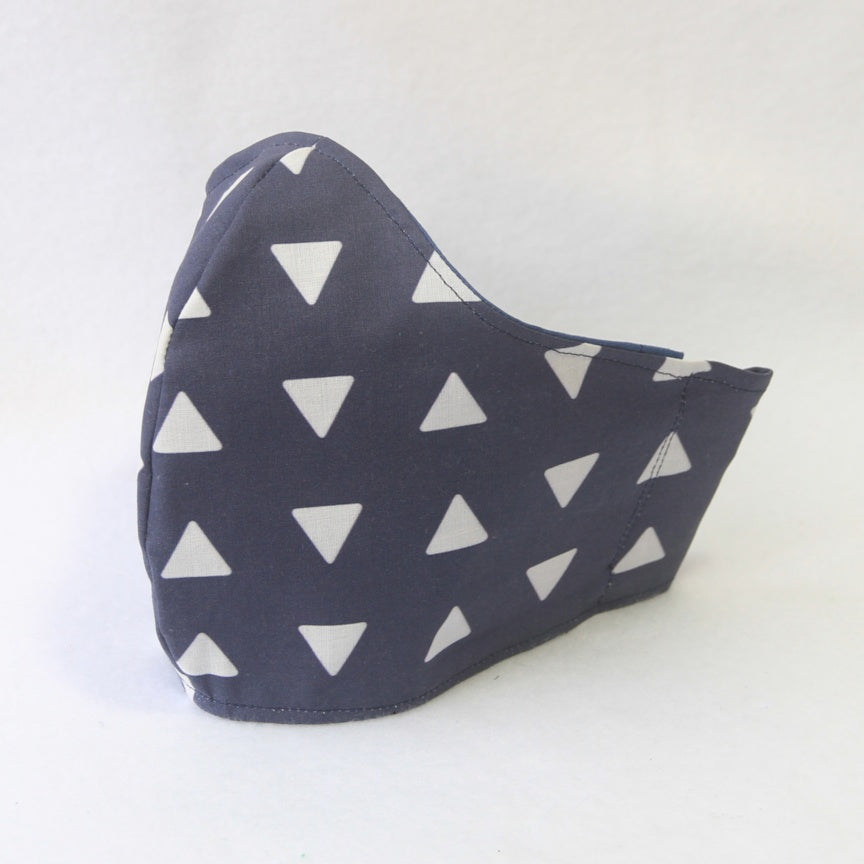 Mucky Duck Crafts large adult fabric face mask in navy with white triangles and navy tie