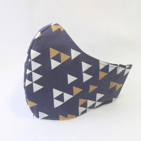 Mucky Duck Crafts large adult fabric face mask in navy blue with white and gold triangles