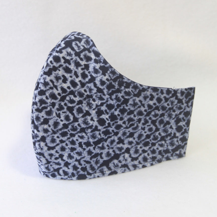 Mucky Duck Crafts large adult fabric face mask in navy pattern with a navy tie