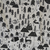 Mucky Duck Crafts adult medium sized fabric reusable face mask with pocket in  white with black trees and mountains