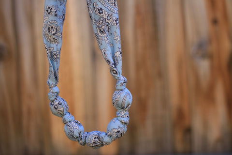 Mucky Duck blue paisley fabric necklace