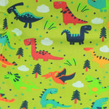 Mucky Duck Crafts adult medium sized fabric reusable face mask with pocket in  lime green with multi coloured dinosaurs