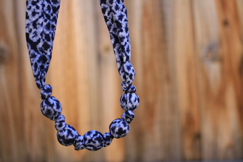 Navy and Blue Patterned Fabric Necklace - New