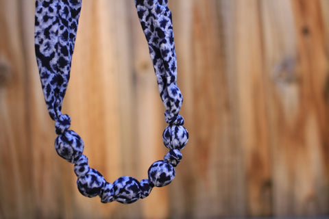 Mucky Duck navy and blue patterned fabric necklace