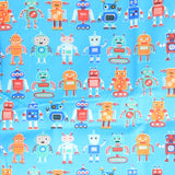 Mucky Duck Crafts adult medium sized fabric reusable face mask with pocket in  blue with robots