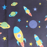 Mucky Duck Crafts adult medium sized fabric reusable face mask with pocket in navy with rockets and planets
