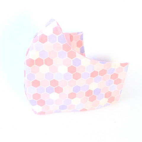 Medium Adult Fabric Face Mask - Pink Purple and White Hexagons