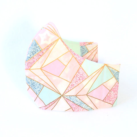 Medium Adult Fabric Face Mask - Pink Mint Geometric Pattern
