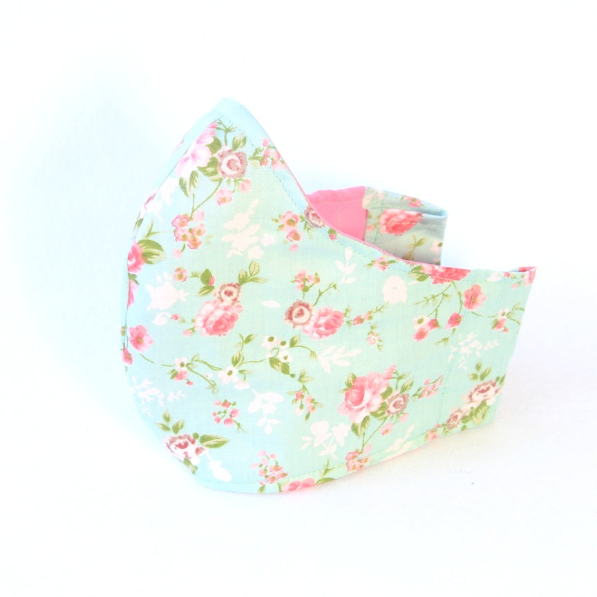 Medium Adult Fabric Face Mask - Mint with Pink Roses