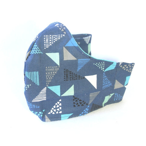 Large Adult Fabric Face Mask - Navy with Blue Grey Triangles Pattern